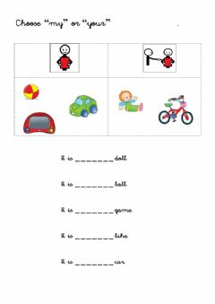 Interactive worksheet My or your
