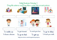 Ficha interactiva Daily routines 3 - Drag and Drop