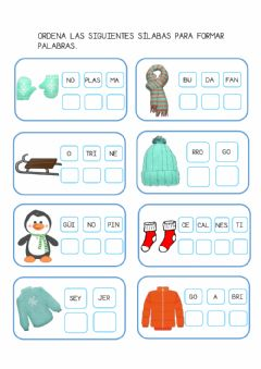 Interactive worksheet Ordenar sílabas- invierno