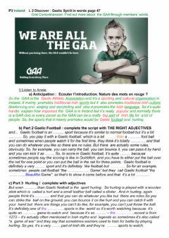 Interactive worksheet Gaelic sports in Ireland