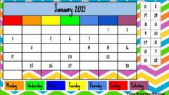 Ficha interactiva Calendar Work January 2021
