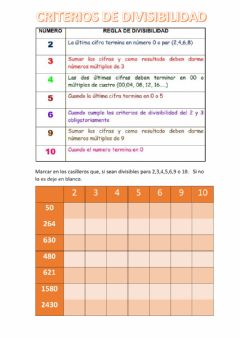 Interactive worksheet Criterios de Divisivilidad