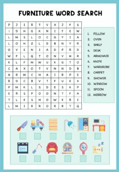 Interactive worksheet Furniture wordsearch