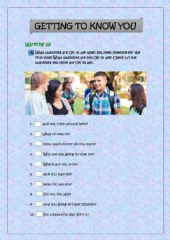 Interactive worksheet Getting to know you