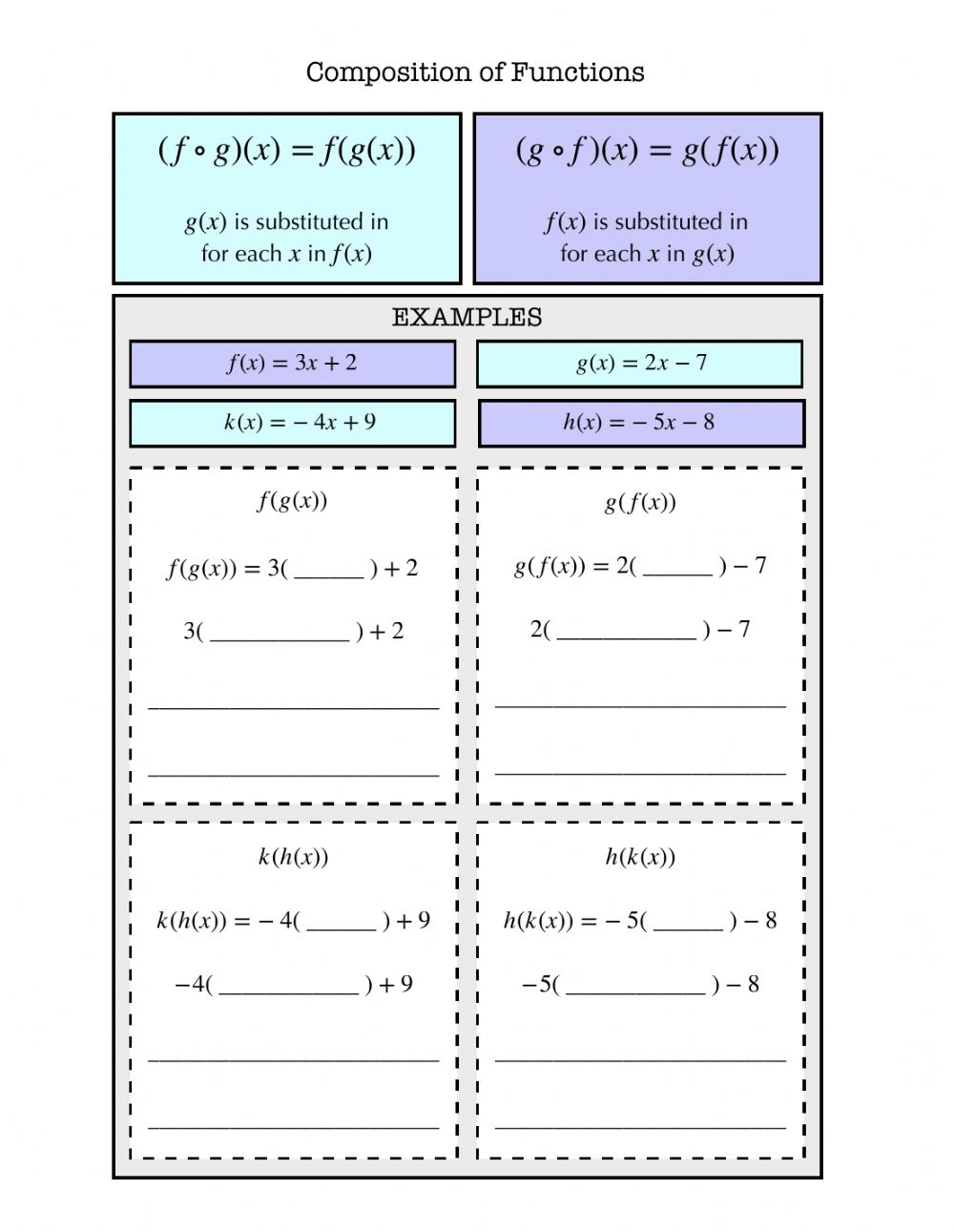 Composition of Functions Notes worksheet Throughout Composition Of Functions Worksheet
