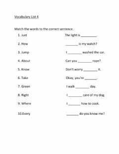 Ficha interactiva Sight Word Vocabulary Recognition