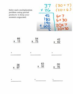 Interactive worksheet Multiplication using partial products