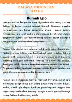 Interactive worksheet Bahasa Indonesia Tema 6
