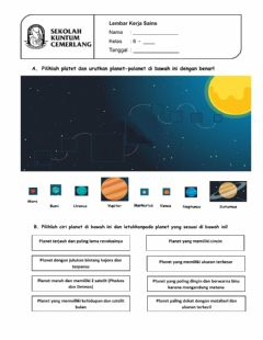 Interactive worksheet Latihan Mengenal Planet
