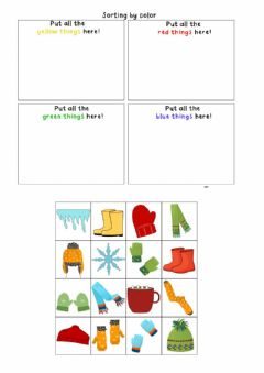 Interactive worksheet Winter and colours