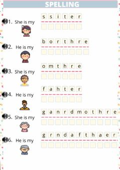 Interactive worksheet SPELLING Family