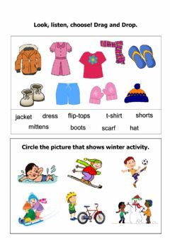 Interactive worksheet Winter Clothing and activities