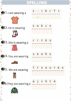 Interactive worksheet SPELLING clothes