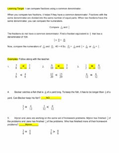 Ficha interactiva Comparing Fractions