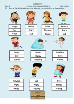 Interactive worksheet How do you feel today?