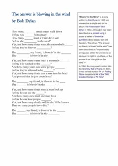 Interactive worksheet Bob Dylan - Blowing in the wind