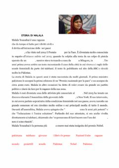 Interactive worksheet Storia di Malala