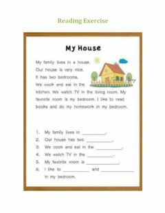 Interactive worksheet Reading My House
