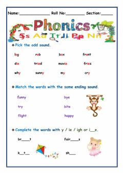 Interactive worksheet Phonics, Prepositions and Antonyms