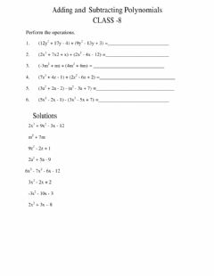 Interactive worksheet Addition and subtraction of polynomials