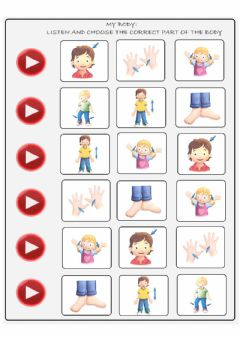 Interactive worksheet My body: listen and choose