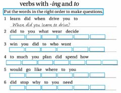 Interactive worksheet Verbs with -ing and to-Put the words in order