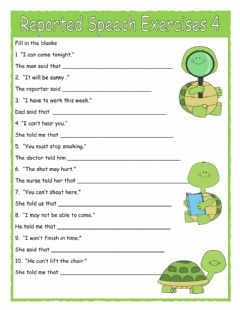 Ficha interactiva Reported Speech Exercises 4