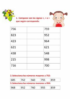 Interactive worksheet Comparación de números