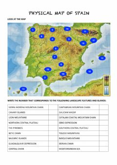Interactive worksheet Physical Map of Spain