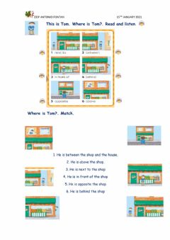 Ficha interactiva Preopositions in a town map