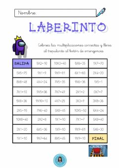 Interactive worksheet Laberinto de multiplicaciones Among us
