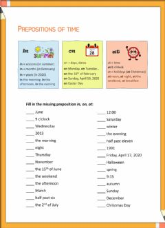 Interactive worksheet Prepositions in, on, at (A, B, C)