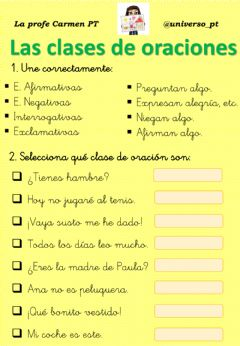 Interactive worksheet Las clases de oraciones