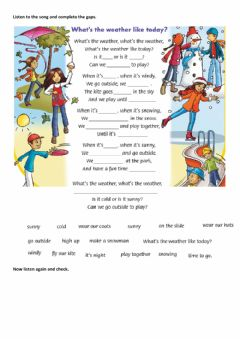 Ficha interactiva Family and friends 2 Unit 10 weather song