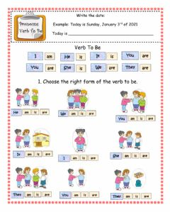 Interactive worksheet Pronouns and verb to be