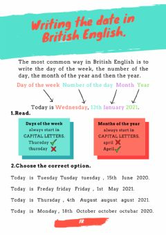 Interactive worksheet Writing the date in British English