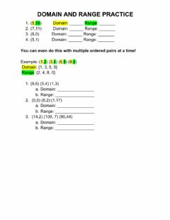 Interactive worksheet Domain Range Practice