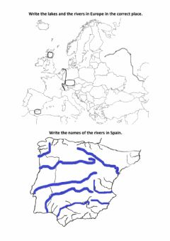 Ficha interactiva Rivers, lakes and oceans