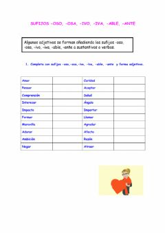 Interactive worksheet Sufijos -OSO, -OSA, -IVO, -IVA, -ABLE, -ANTE