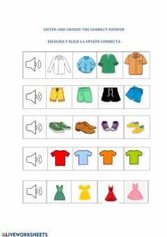 Interactive worksheet Colors and clothes