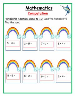 Ficha interactiva Horizontal addition sums to 10