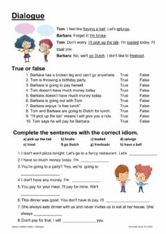 Interactive worksheet Dialogue-money related idioms