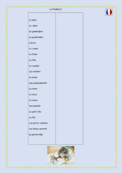 Interactive worksheet Vocabulaire:la famille