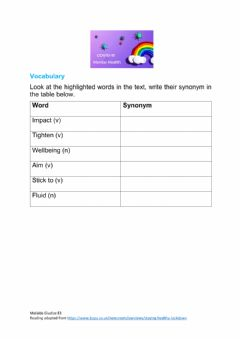 Interactive worksheet Staying Healthy in lockdown E3- Reading