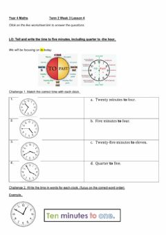 Interactive worksheet DIS Maths Week 3 lesson 4