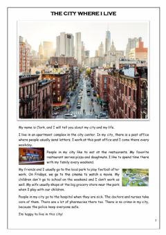 Interactive worksheet My city and my life