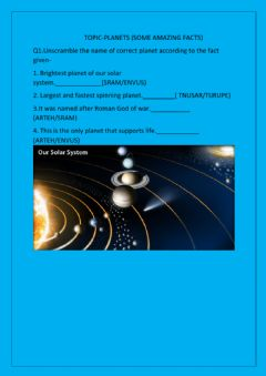 Interactive worksheet The solar system