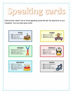 Interactive worksheet Speaking cards