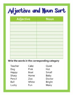 Interactive worksheet Adjective and noun sort