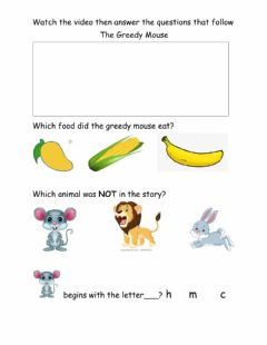 Interactive worksheet Story- The Greedy Mouse